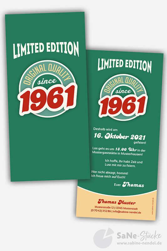 Einladungskarten-60-Geburtstag-Retro-1961-gruen