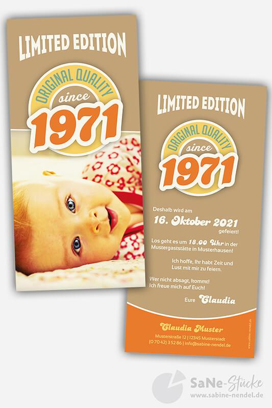 Einladungskarten-50-Geburtstag-Retro-1971-braun-Foto