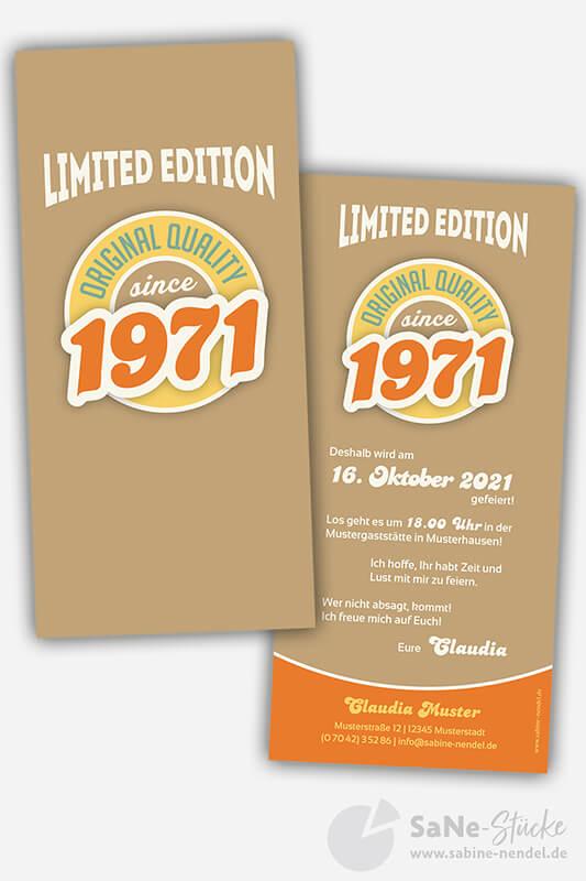 Einladungskarten-50-Geburtstag-Retro-1971-braun