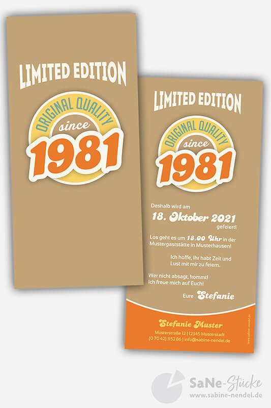 Einladungskarten-40-Geburtstag-Retro-1981-braun