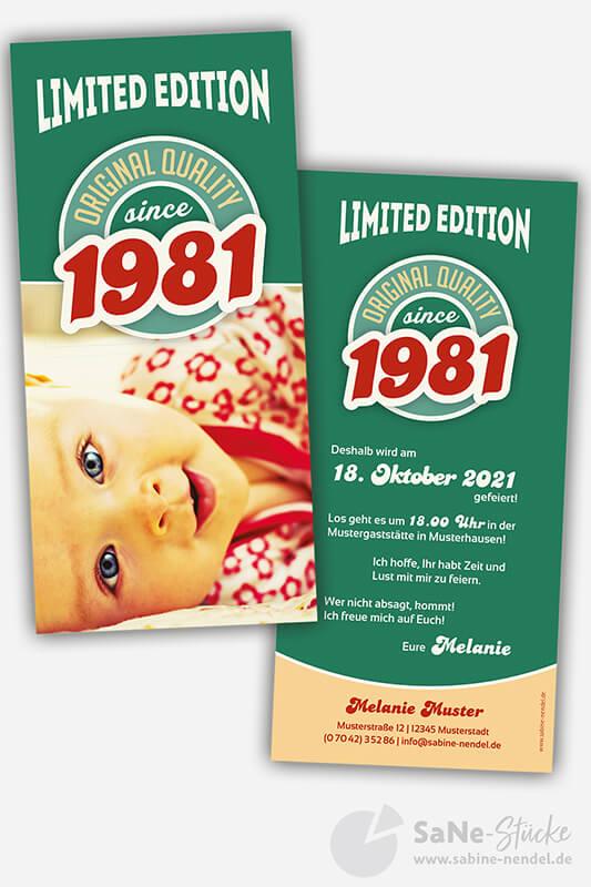 Einladungskarten-vierzigster-Geburtstag-Retro-1981-gruen-Foto