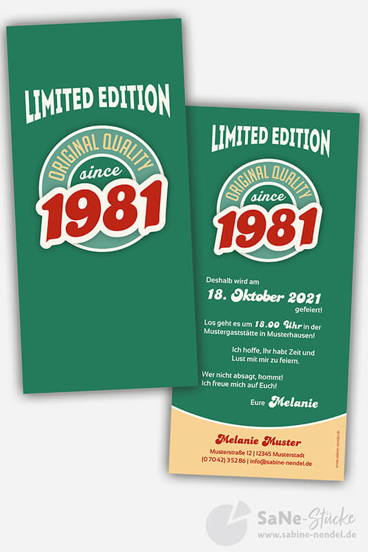 Einladungskarten-40-Geburtstag-Retro-1981-gruen