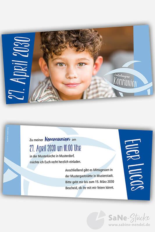 Einladungskarten Kommunion Fisch blau Foto