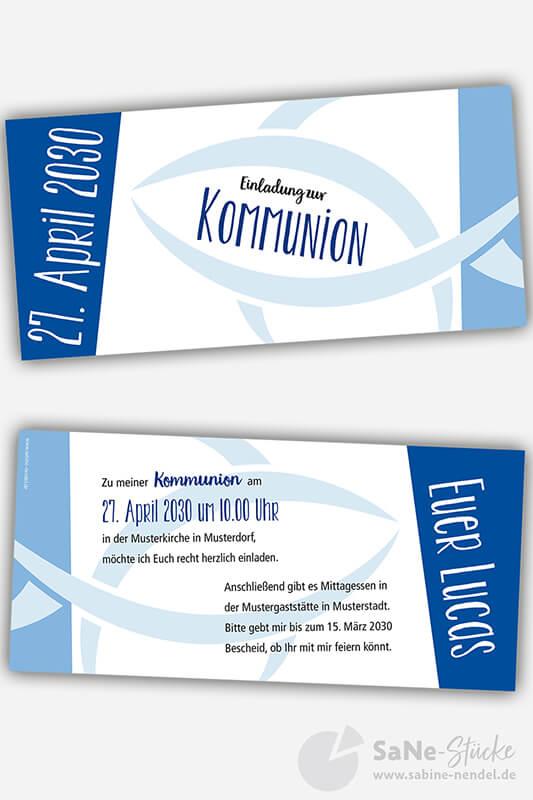 Einladungskarten Kommunion Fisch blau