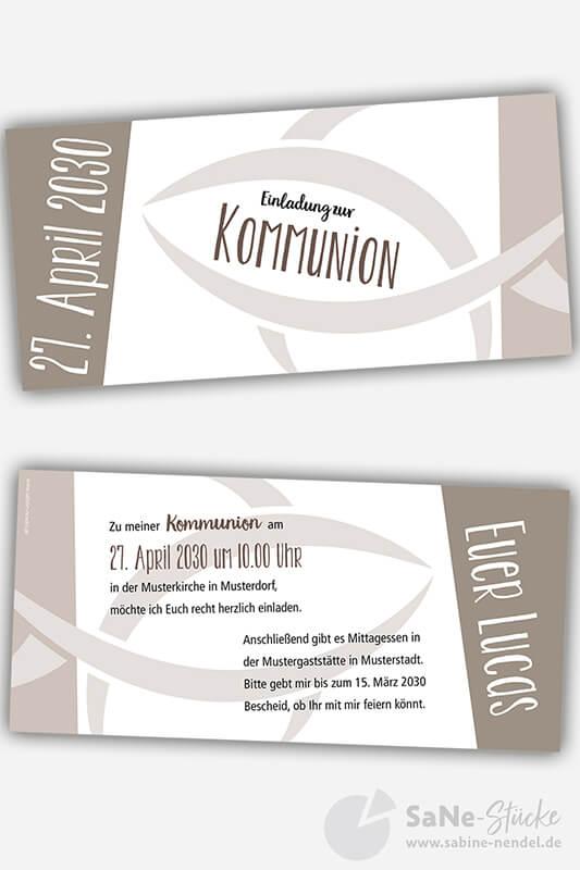 Einladungskarten Kommunio Fisch braun