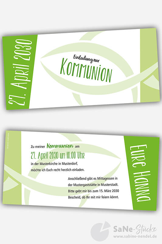 Einladungskarten Kommunion Fisch gruen