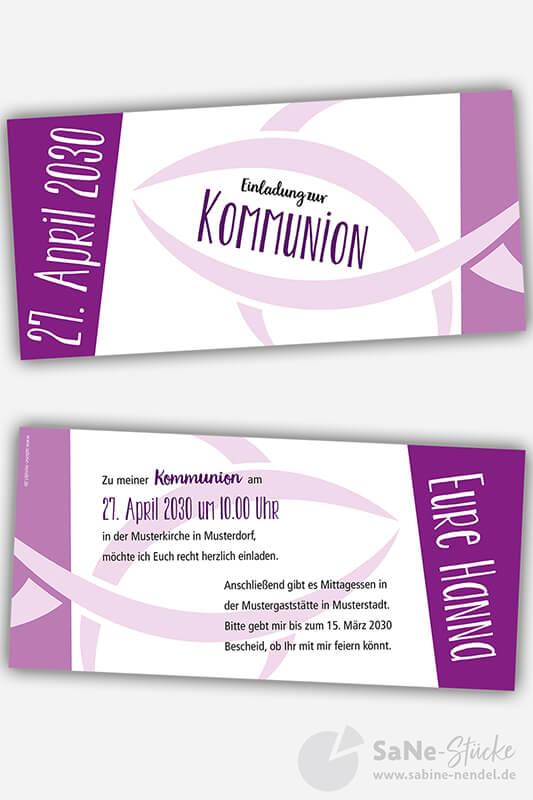 Einladungskarten Kommunion Fisch lila