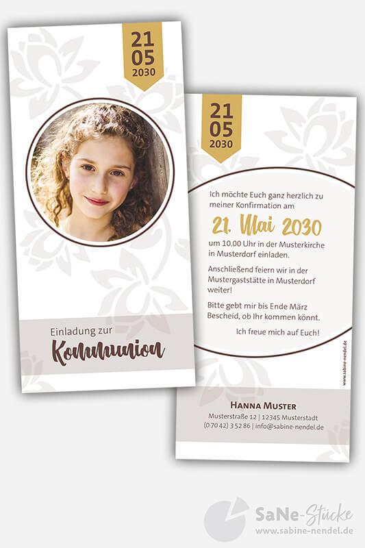 Einladungskarten-Kommunion-Flower-Braun