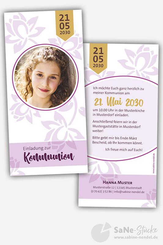 Einladungskarten-Kommunion-Flower-Lila