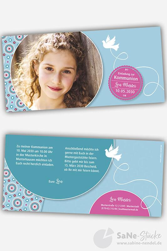 Einladungskarten-Kommunion-Taube-blau