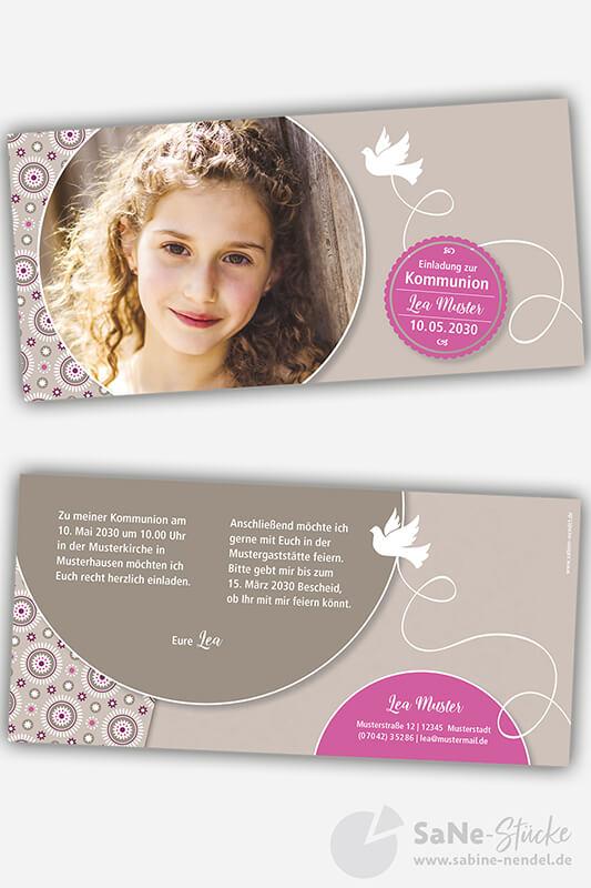 Einladungskarten-Kommunion-Taube-braun