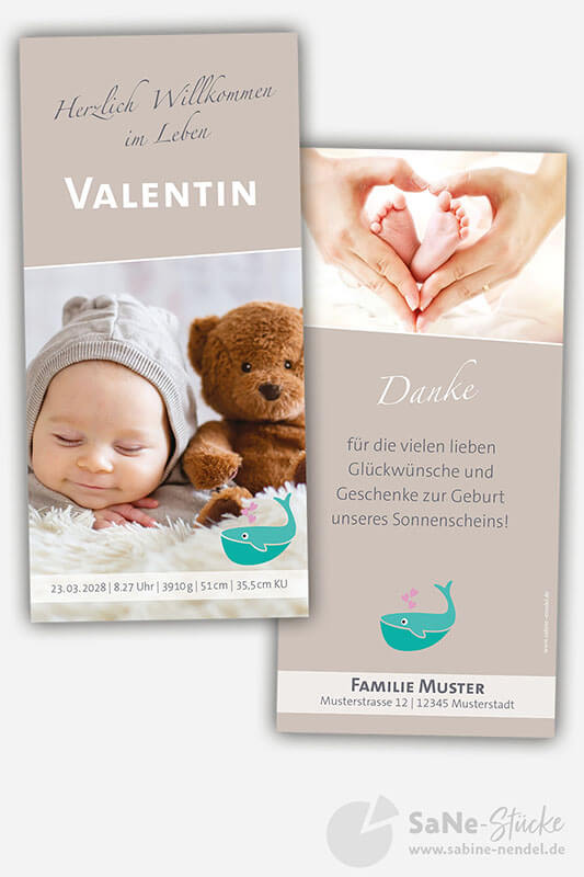 Dankeskarte-zur-Geburt-oder-Taufeinladung-mit-Wal-Motiv-Braun