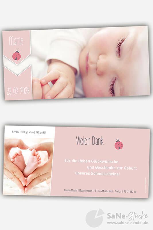 Dankeskarte-zur-Geburt-oder-Taufeinladung-mit-Marienkaefer-in-rosa