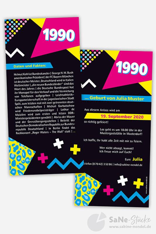 Geburtstagseinladung 1990