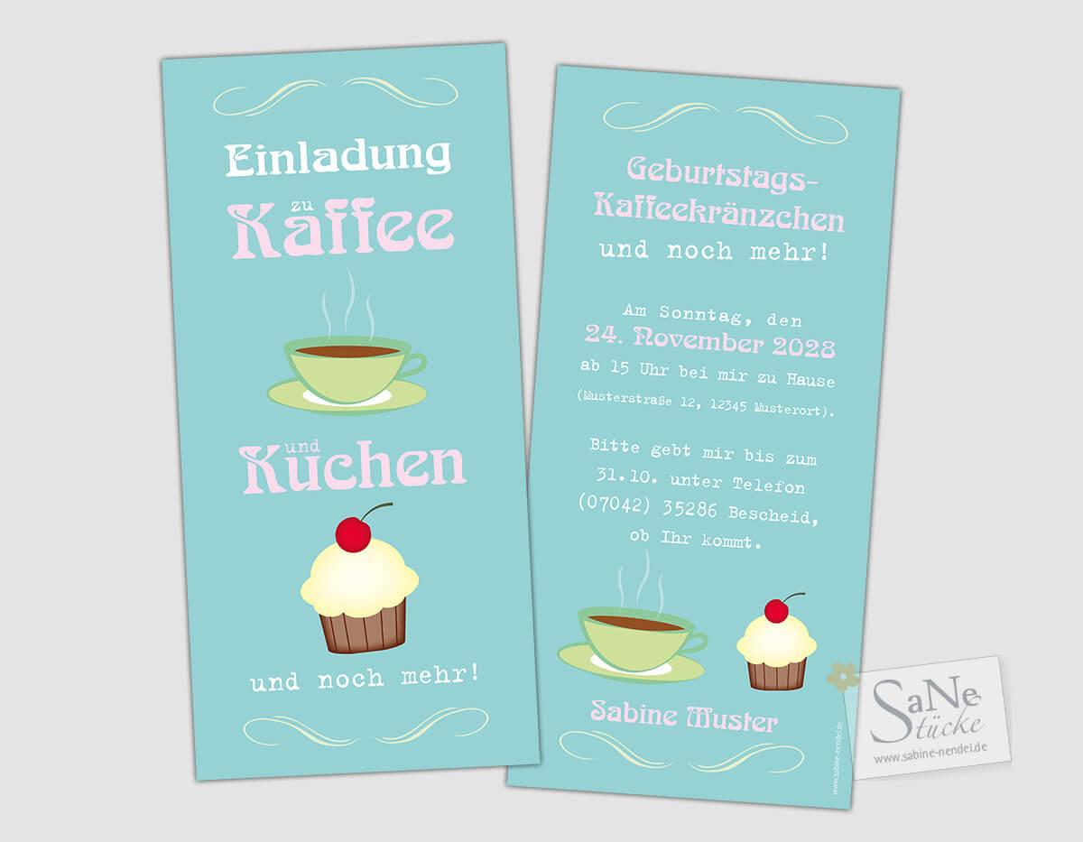 Retro Einladungskarte Zum Geburtstag Zu Kaffee Und Kuchen