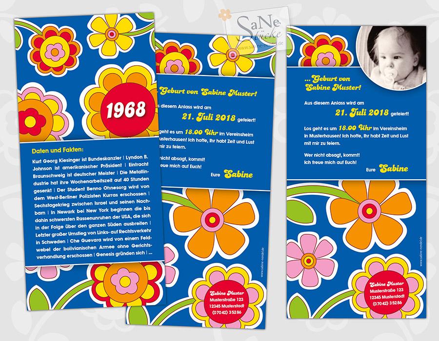 SaNe_Stuecke_Einladungskarte_Geburtstag_Retro_60er_1968_ws