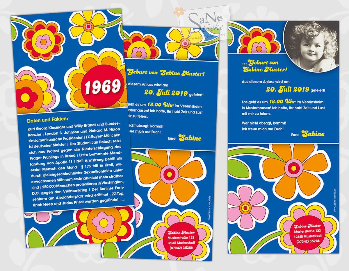 Einladungskarten zum 50. Geburtstag 1969