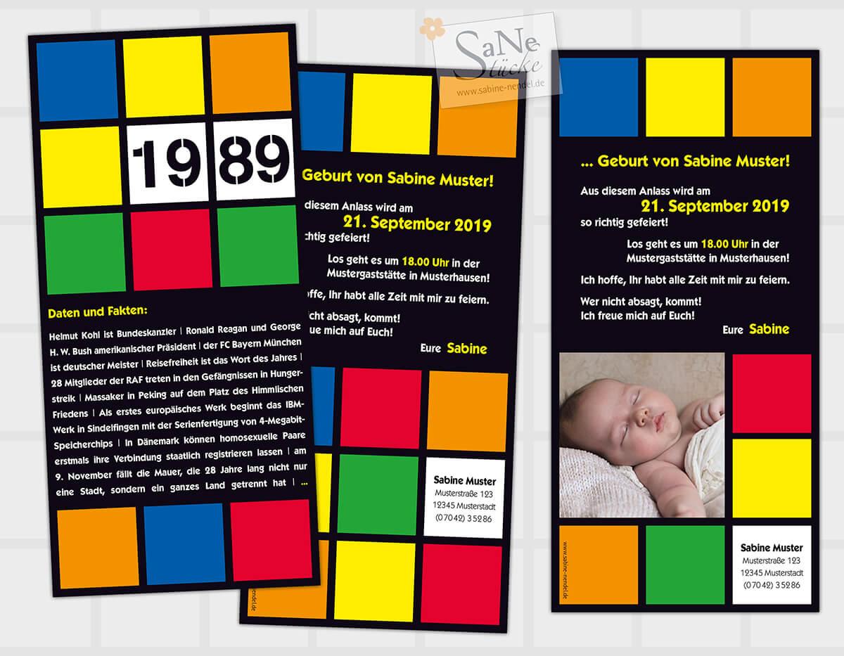Einladungskarte Zum 30 Geburtstag Im Retro Stil Der 80er