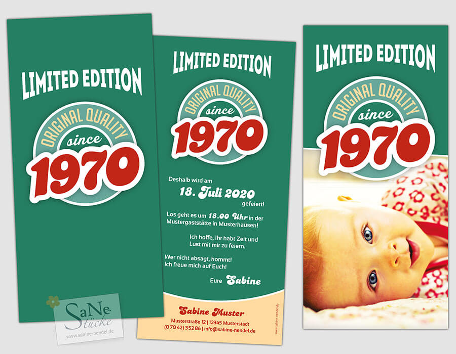Einladungskarte zum 50. Geburtstag Vintage 1970