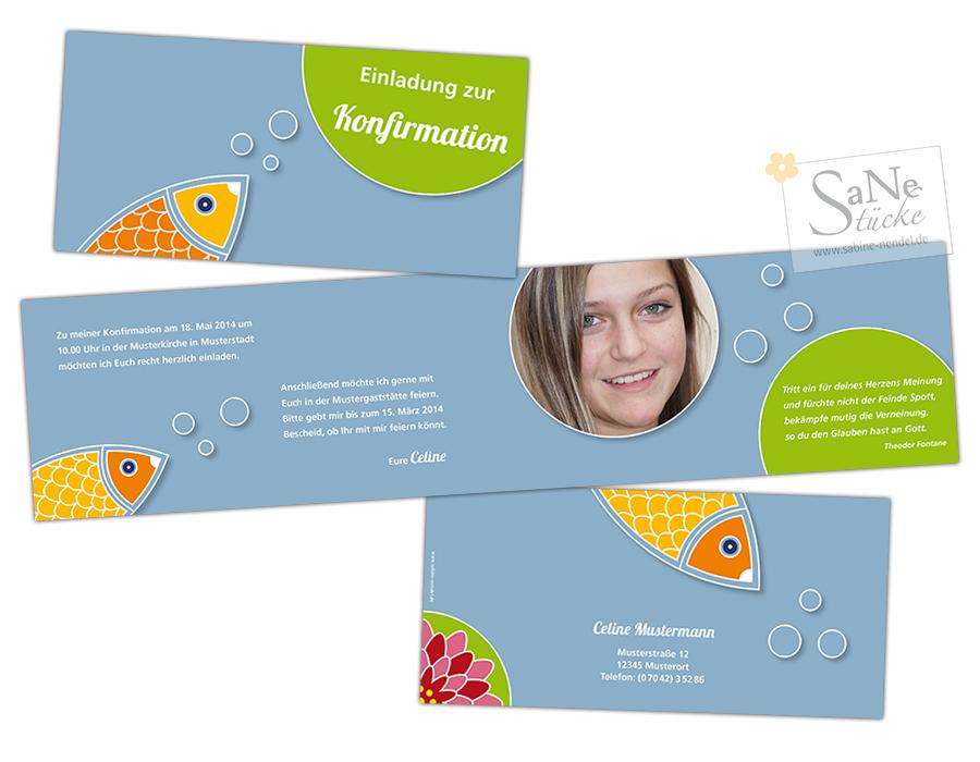 SaNe_Stuecke_Einladungskarte_Konfirmation_Fish_Bubbles