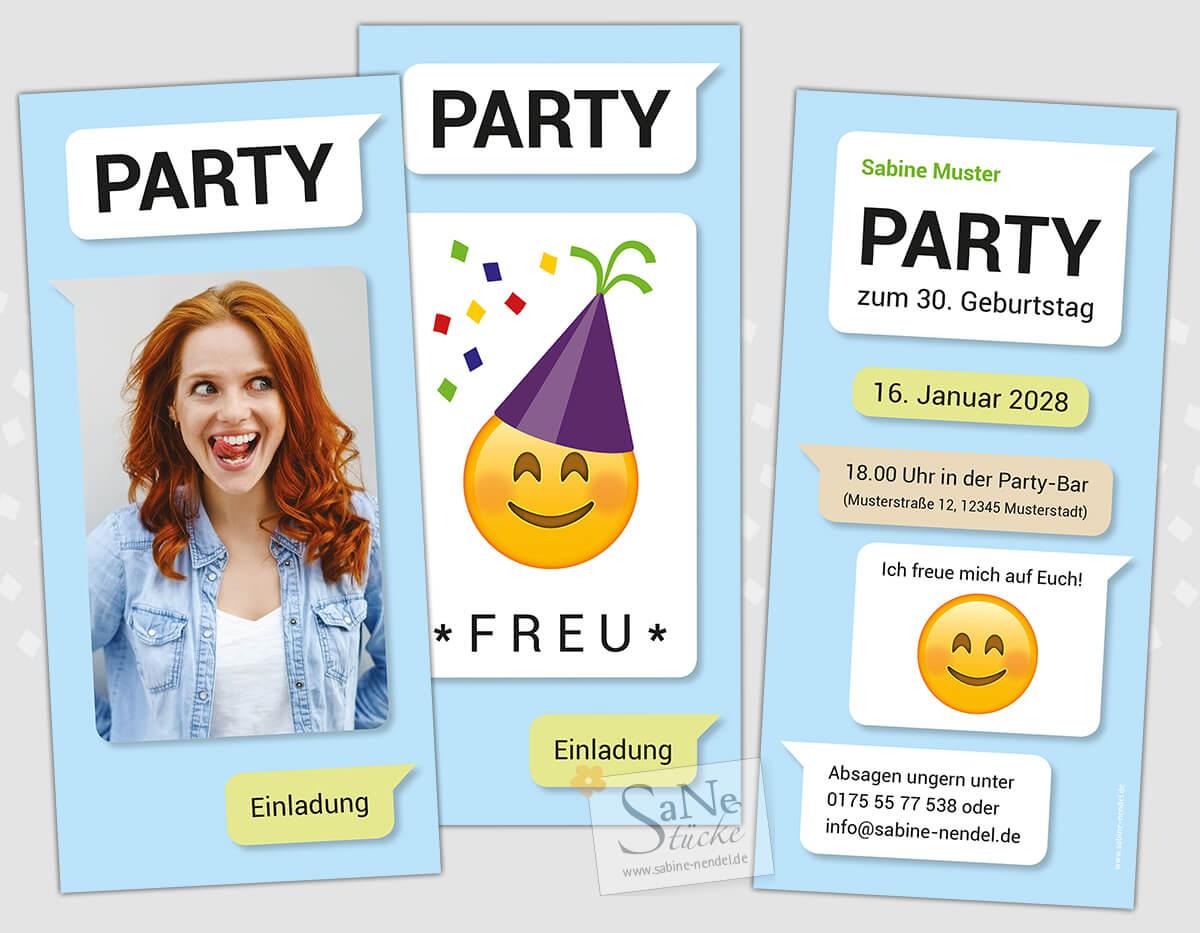 Einladungskarten Party Emoji