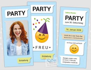 Einladungskarten Party Emoji